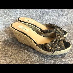 Valentino Lace Bow Wedge Espadrilles Sandals Mena